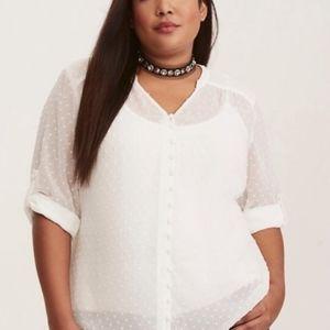 Torrid White Textured Semi-Sheer Long Sleeve Shirt